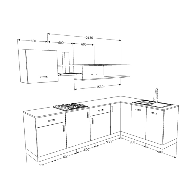 Modular Kenya Project Simple L Shaped Small Kitchen: Buy Heron Elegant L-Shaped Kitchen Online