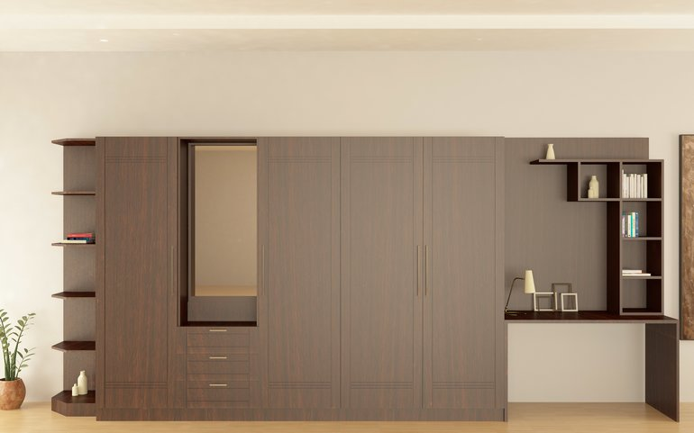 Buy juniper country style hinged wardrobe online for Bedroom cupboard designs in india