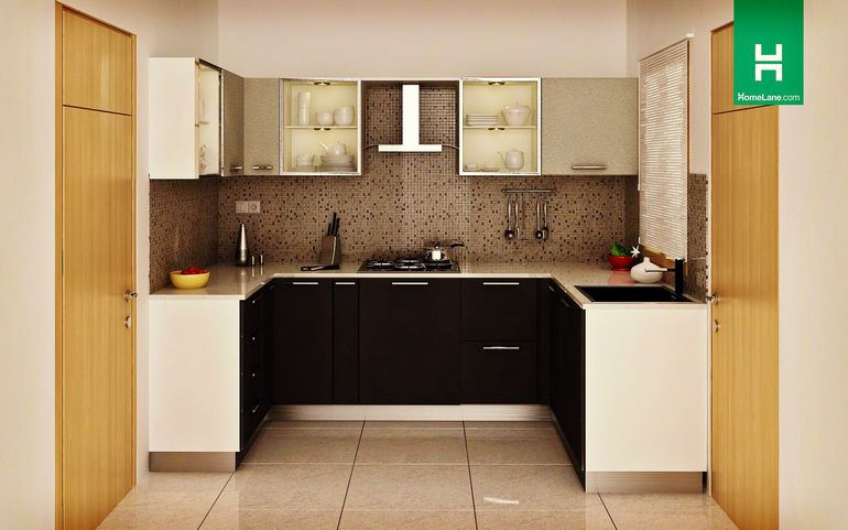 buy heron sleek u shaped kitchen online homelane india. Black Bedroom Furniture Sets. Home Design Ideas