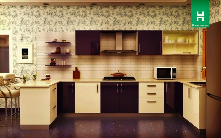 Buy Robin Retro U Shaped Kitchen With Breakfast Counter Online Homelane India