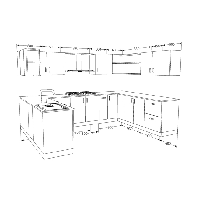 Galley Kitchen Ideas That Work For Rooms Of All Sizes: Buy Heron Bohemian U-Shaped Kitchen Online