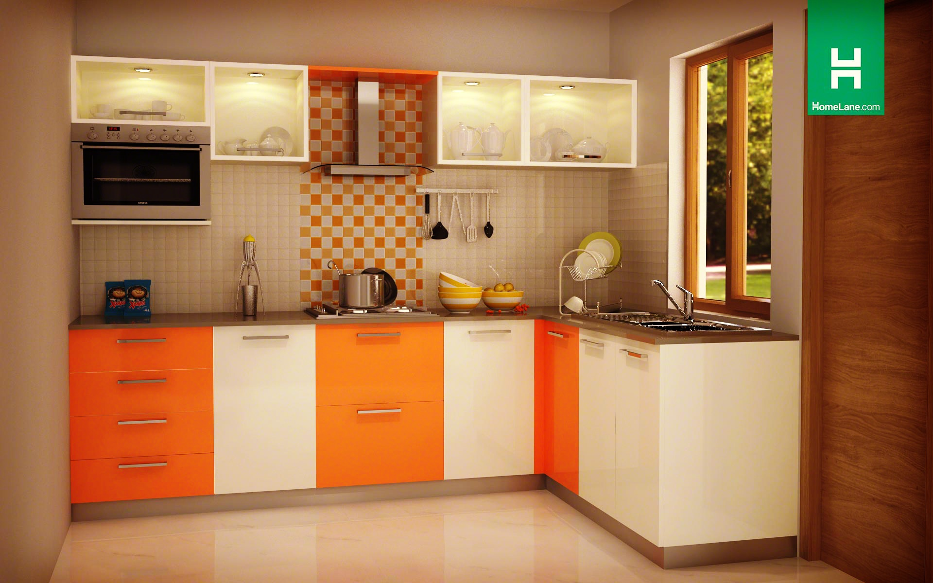 Latest indian modular kitchen design - Condor Exquisite L Shaped Kitchen