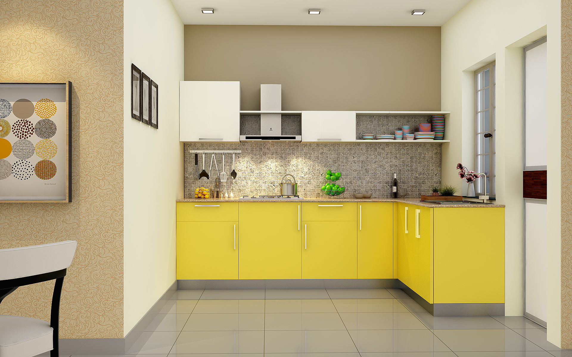 Latest indian modular kitchen design - Heron Elegant L Shaped Kitchen