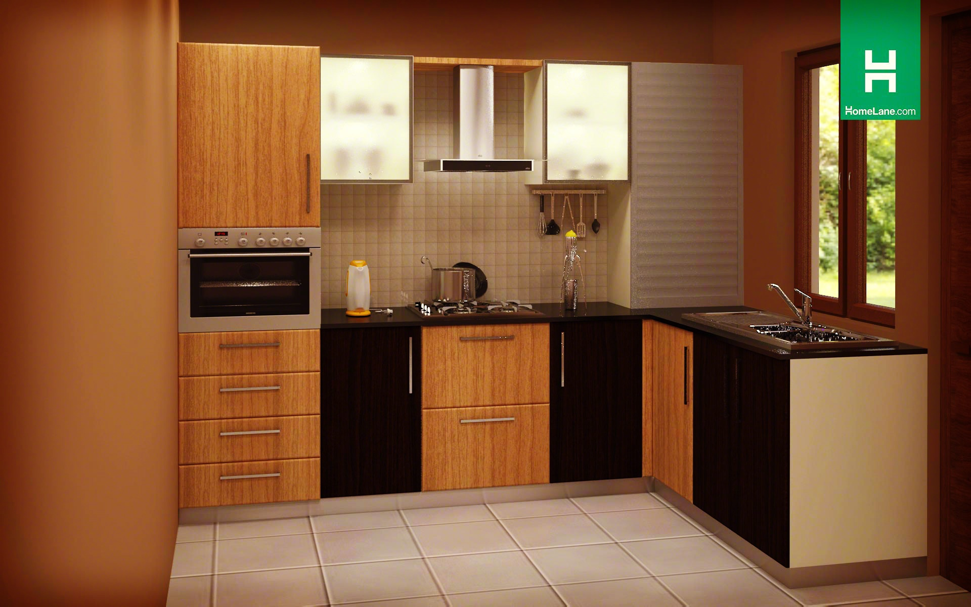 L shaped modular kitchen designs prices homelane india for L shaped kitchen design ideas india