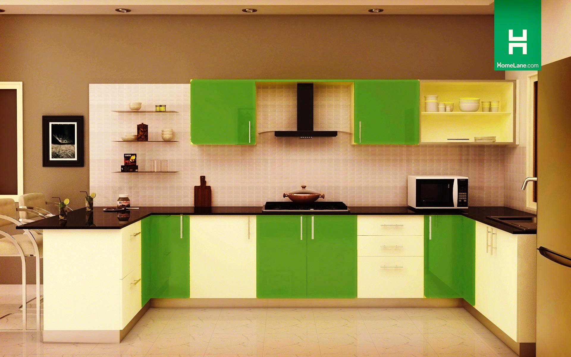 Latest indian modular kitchen design - Condor Retro U Shaped Kitchen With Breakfast Counter