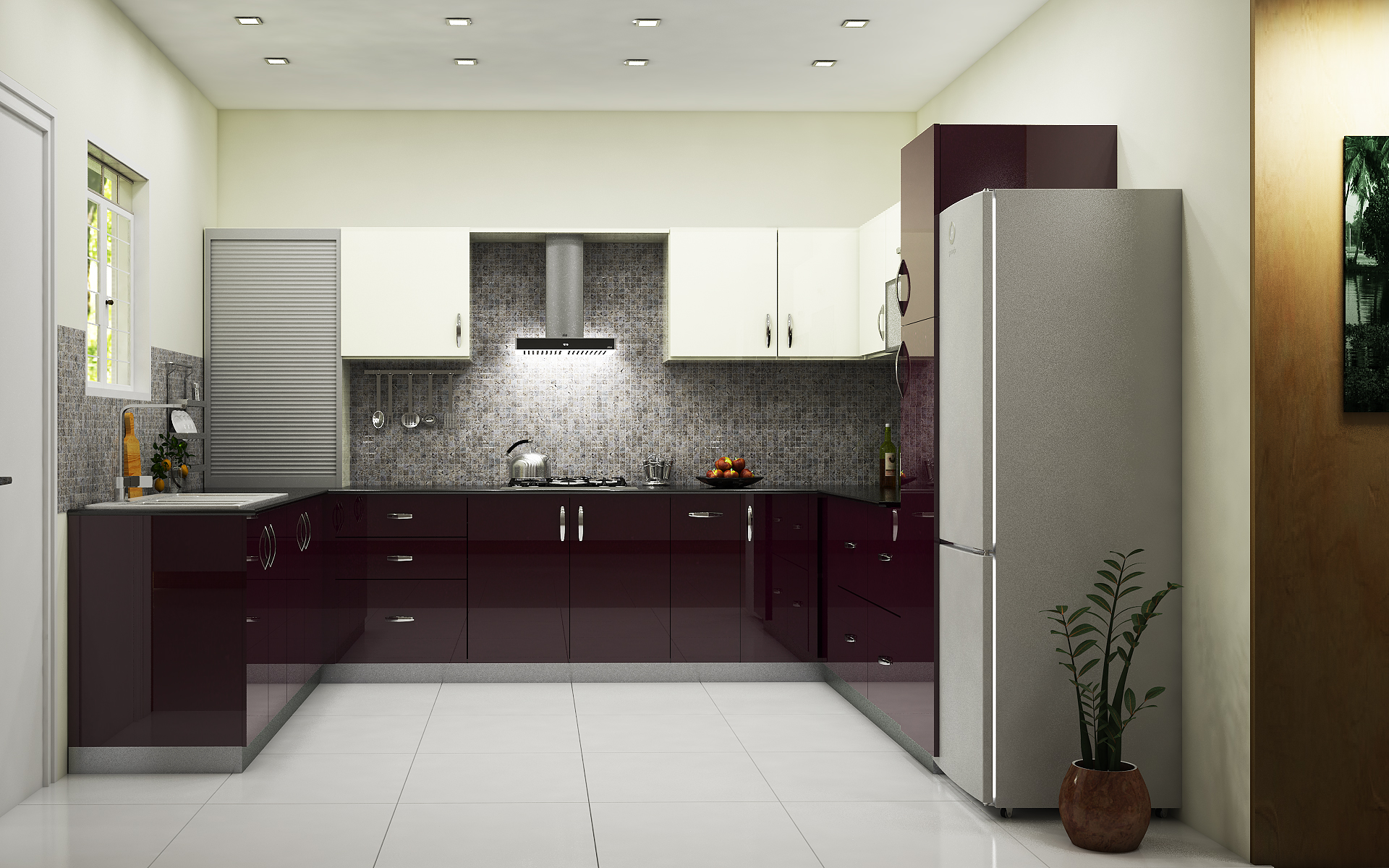 Latest indian modular kitchen design - Condor Minimalist U Shaped Kitchen