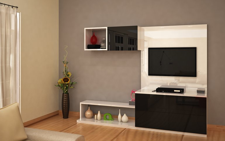 Buy petrel compact entertainment unit online homelane india for Wall units for living room mumbai
