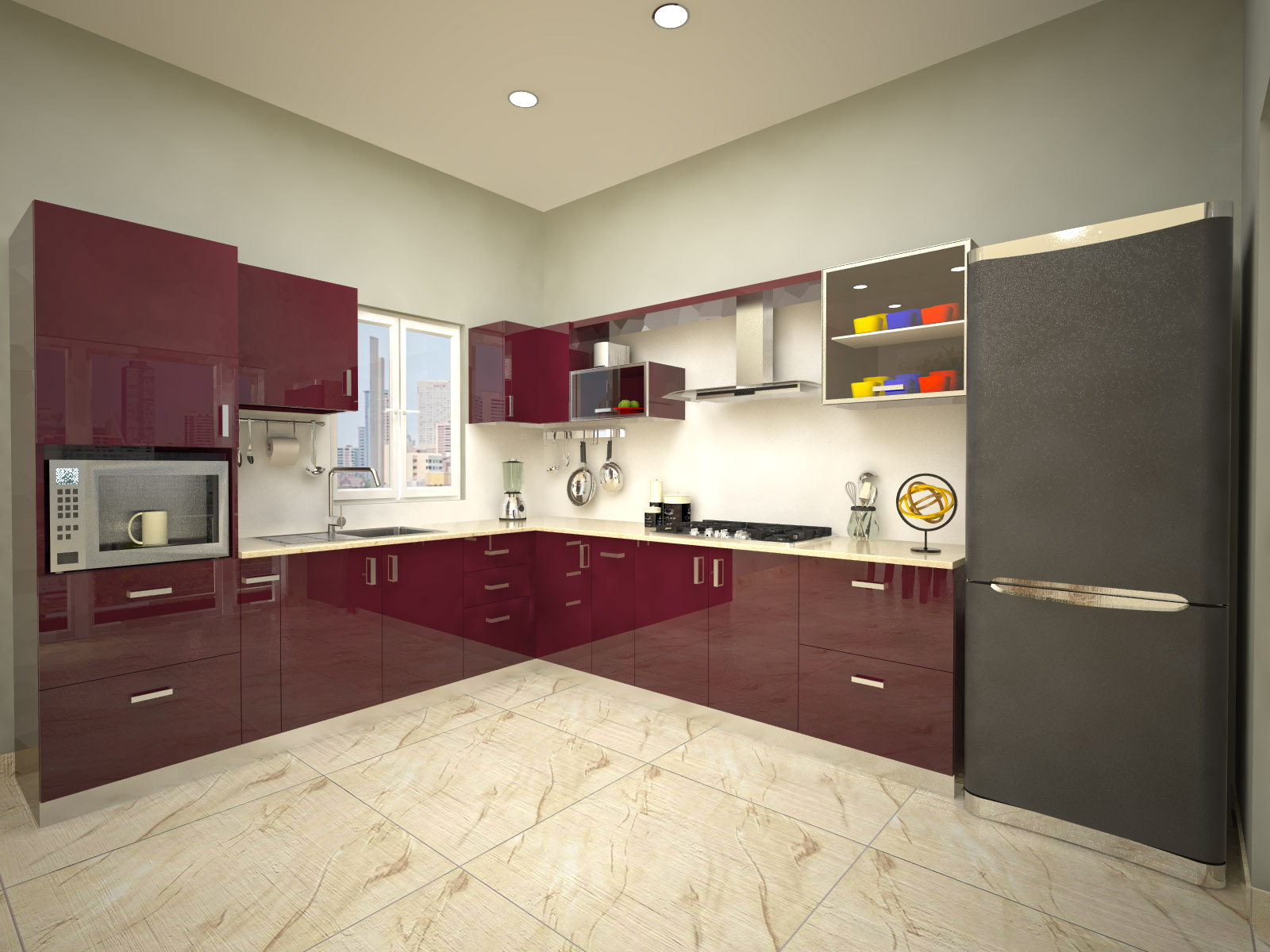 Homelane munnar l shaped modular kitchen autentic wenge for Modular kitchen designs for 10 x 8
