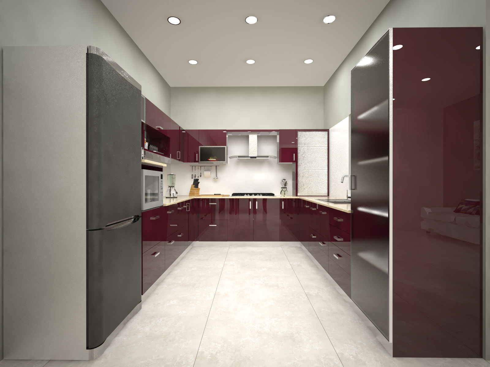 Homelane Hampton U Shaped Modular Kitchen Slate Grey